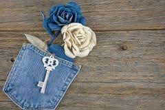 Rosas da sarja de Nimes no bolso Fotos de Stock