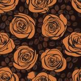 Rosas de chá e teste padrão sem emenda do café Vetor Fotografia de Stock Royalty Free