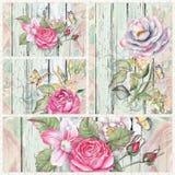 Rosas de la acuarela en la madera Imagenes de archivo
