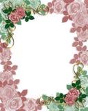 Rosas de la frontera de la invitación de la boda Fotos de archivo