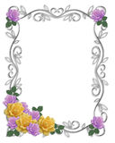 Rosas de la frontera de la invitación de la boda ilustración del vector