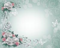 Rosas de la frontera de la invitación de la boda stock de ilustración