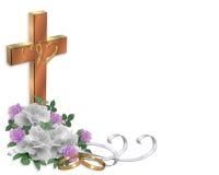 Rosas de la frontera de la invitación de la boda cristianas stock de ilustración