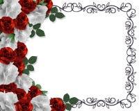 Rosas de la frontera de la tarjeta del día de San Valentín o de la boda Imágenes de archivo libres de regalías