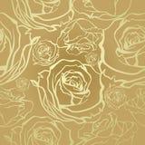 Rosas de oro inconsútiles Fotografía de archivo