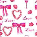 Rosas de Valentine Seamless do marcador e de curva do amor teste padrão Imagens de Stock Royalty Free