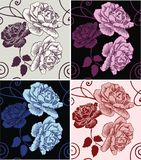 Rosas decorativas hermosas del modelo inconsútil Foto de archivo