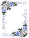 Rosas del azul de la frontera de la boda Imagenes de archivo