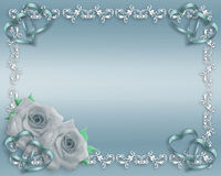 Rosas del azul de la invitación de la boda Fotografía de archivo libre de regalías