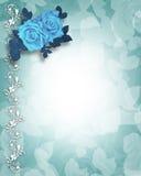Rosas del azul de la invitación de la boda o del partido ilustración del vector