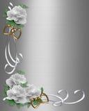 Rosas del blanco de la frontera de la invitación de la boda Imagen de archivo libre de regalías