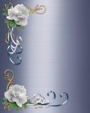 Rosas del blanco de la frontera de la invitación de la boda libre illustration