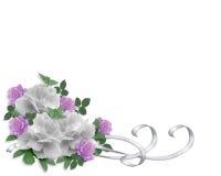 Rosas del blanco de la frontera de la invitación de la boda Imagenes de archivo