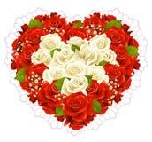 Rosas del manojo en la dimensión de una variable del corazón Imagen de archivo