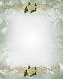 Rosas del modelo de la invitación de la boda Fotografía de archivo libre de regalías