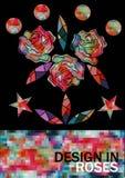 Rosas del mosaico y geométrico Imagen de archivo libre de regalías