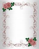 Rosas del rojo del modelo de la invitación de la boda Imagen de archivo