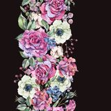 Rosas del rosa de la acuarela, frontera inconsútil de la naturaleza con las flores ilustración del vector