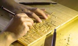 Rosas del Woodcarving Fotografía de archivo libre de regalías