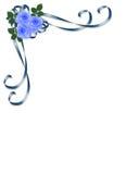 Rosas do azul do convite do casamento Imagens de Stock Royalty Free