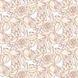 Rosas do bege do teste padrão ilustração do vetor
