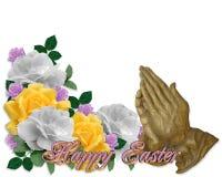 Rosas do cartão de Easter que Praying as mãos Imagem de Stock
