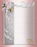 Rosas do cetim da beira do convite do casamento Foto de Stock Royalty Free