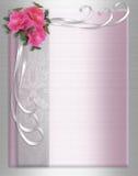 Rosas do cetim da beira do convite do casamento Imagem de Stock