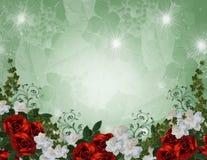 Rosas do vermelho da beira do convite do casamento Foto de Stock Royalty Free
