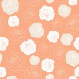Rosas do vetor no teste padrão alaranjado Peachy do fundo ilustração royalty free