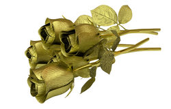 Rosas douradas isoladas no fundo branco Imagens de Stock Royalty Free