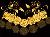 Rosas douradas no estilo vitoriano Ilustração do vetor com flores Decoração do vintage Antiguidade, luxo, elementos florais Foto de Stock Royalty Free