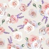 Rosas e alfazema sem emenda Imagens de Stock Royalty Free