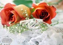 Rosas e anéis Fotografia de Stock