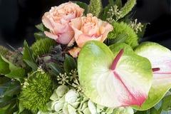 Rosas e antúrio alaranjados fotos de stock
