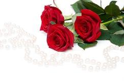 Rosas e beades da pérola Imagens de Stock Royalty Free