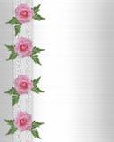 Rosas e beira cor-de-rosa do laço Foto de Stock