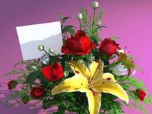 Rosas e cartão vazio Imagens de Stock