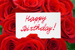 Rosas e feliz aniversario do cartão imagem de stock royalty free