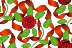 Rosas e fundo sem emenda das fitas Fotos de Stock Royalty Free