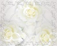 Rosas e pérolas do convite do casamento Fotos de Stock Royalty Free