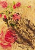 Rosas e pena com pássaros ilustração do vetor