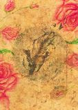 Rosas e pena com pássaros ilustração royalty free