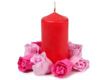 Rosas e vela Imagens de Stock Royalty Free