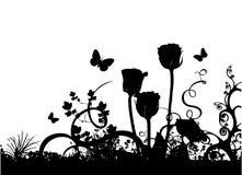 Rosas e vetor da borboleta Fotos de Stock Royalty Free