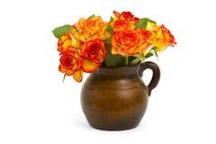 Rosas em um vaso - fundo branco imagens de stock