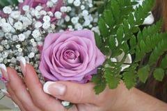 Rosas en las manos Foto de archivo libre de regalías