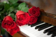 Rosas en piano foto de archivo