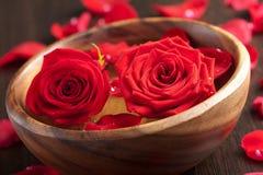 Rosas en tazón de fuente de madera fotografía de archivo libre de regalías