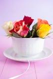 Rosas en taza Fotografía de archivo